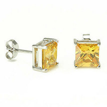 1.50-2.60CT Women's 14K WG Plated Princess Cut Fancy Canary Yellow Stud ... - $19.30+