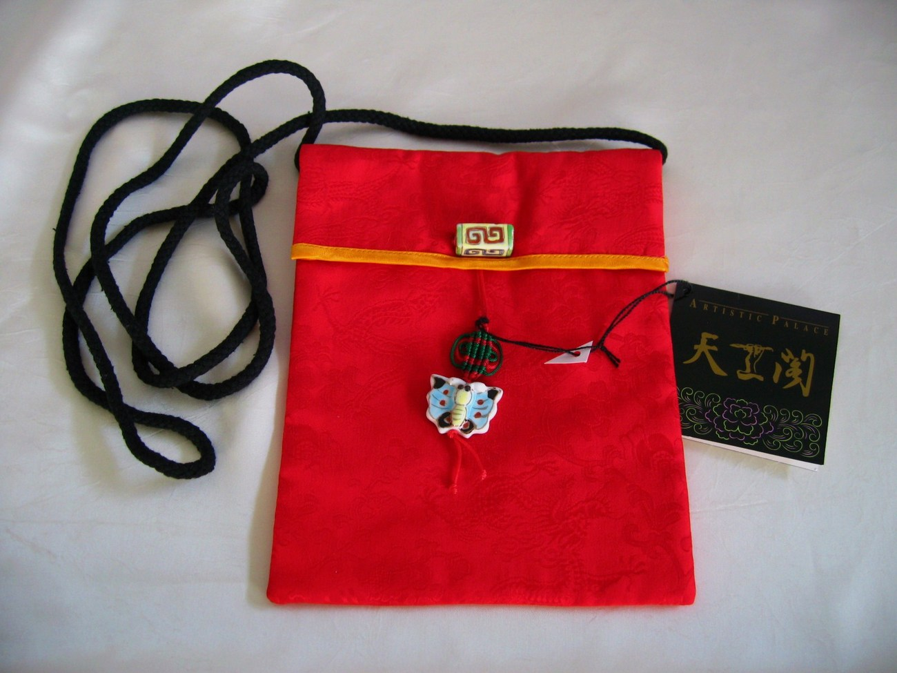 ELEGANT COLLECTIBLE Japanese art RED Embroidery Fine Silk handbag /strap purse