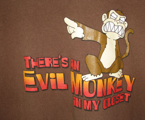 There's An Evil Monkey in My Closet Tshirt Size Large