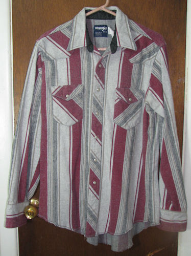 Men's Wrangler Western Pearl Snap Shirt Large Heavy
