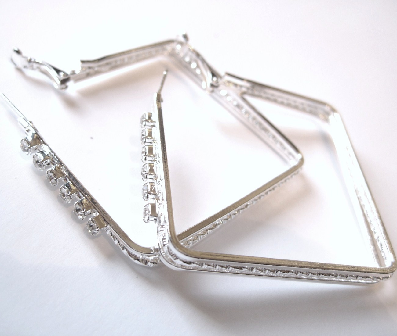 Sparkling Clear CZ Silver Square Hoop Earrings EA88