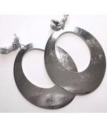 3.5 inch Silver Textured Dangle Clip On Earrings EA89 - $4.99