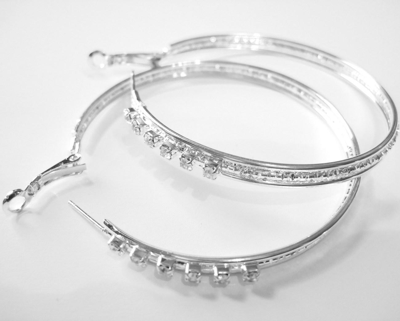 Ea92 cz hoop silver 2.25