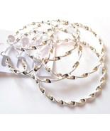 3 Prs Twisted Silver Hoop Earrings EA93 - $4.99