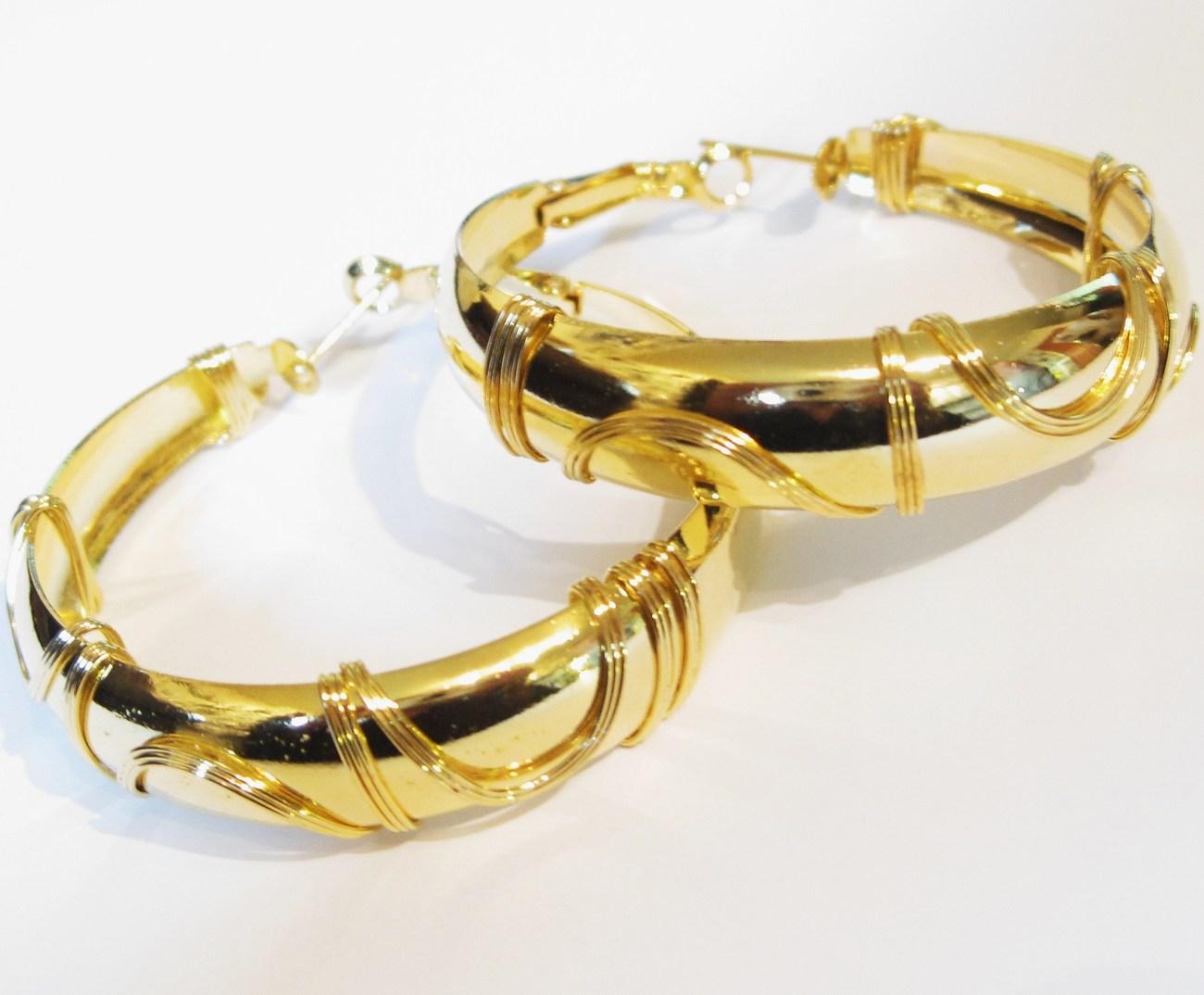 Twisted Wire 14k Gold EP Hoop Earrings EA97