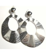 3 inch Wavy Textured Silver Clip on Earrings EA101 - $4.99