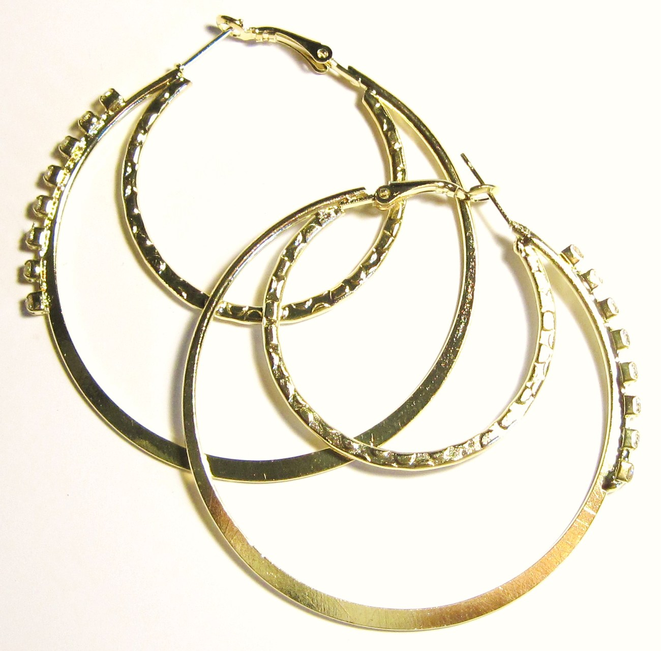 Ea102 cz gold double hoop