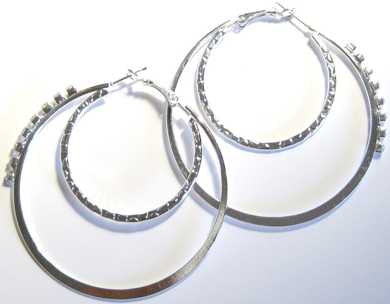 Ea103 cz dble hoop silver