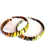 2 inch Black Orange Zebra Print Hoop Earrings EA113 - $4.99