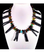 "16"" Bamboo coral, moss agate, black jet and wood bead necklace - $100.00"