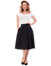 Black High Waist Full Skirt w Pockets - Sz S to 2X - Vintage Inspired at... - $50.00