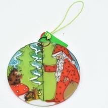 Handmade Fused Art Glass Woodland Santa Christmas Ornament Sun Catcher Ecuador