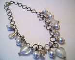 Necklace sea shell pearl clear glass beads azure  1  thumb155 crop