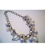 Necklace Sea Shell Pearl Clear Glass Beads White  - $12.99