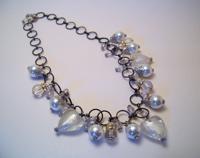 Necklace Sea Shell Pearl Clear Glass Beads White