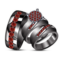 14K Black Gold Finish Red Garnet Engagement Wedding Womens Mens Trio Rin... - $167.98