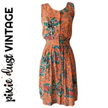Vintage Dress Tropical Coral Backless 80s 90s Palm Trees 1980s 1990s Siz... - $39.50