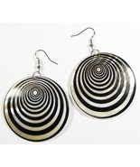 "2"" Black Spiral Pattern Dangle Shell Earrings E... - $4.99"