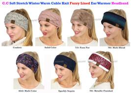 C.C Soft Stretch Winter Warm Cable Knit Fuzzy Lined Ear Warmer CC Headband - $11.79