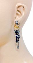 Black Enamel Cat Kitty Dangle Earrings Yellow Eyes Rhinestone Animal Lover - $11.40