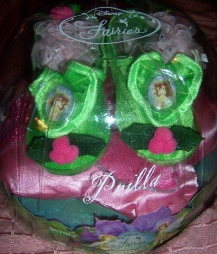 Disney Fairies Tinker Bell Prilla Play Shoes NEW Green Pink Silver Accents Cameo