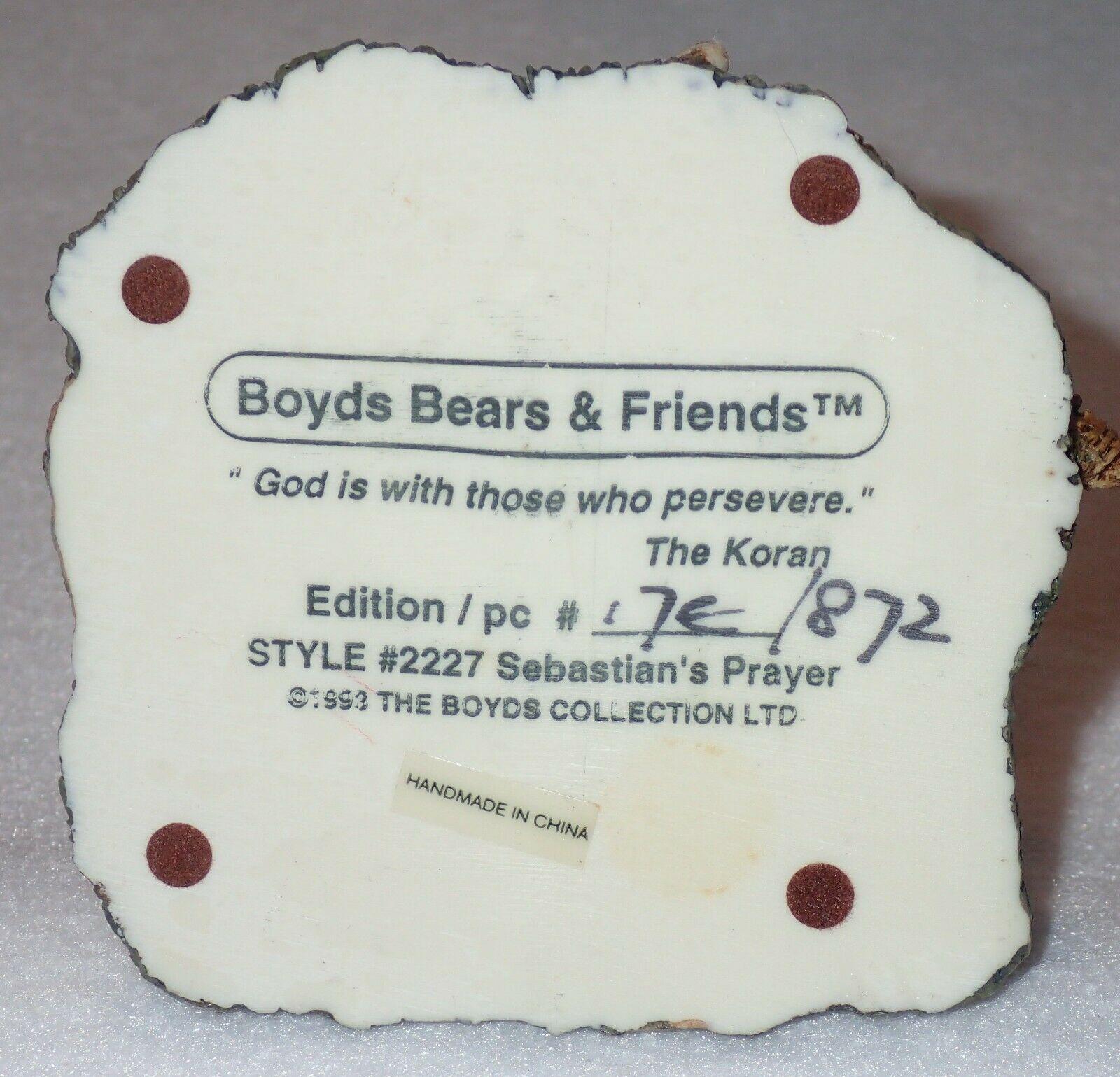Boyd Bearstone Resin Bears Sebastian's Prayer Figurine #2227 17E NEW IN BOX image 4