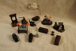 Lot of 13 Rare Lemax Spooky Town Figures Ghost Coffins Cat Gallows and More - $49.99