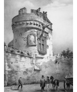 FRANCE Caen Tower of 'Gendarmes' - SUPERB 1843 Lithograph Print - $39.60