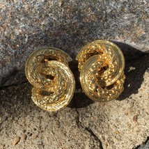 Vintage Gold Tone Chunky Clip On Earrings Gaudy 80s Runway Couture Heavy - $24.99