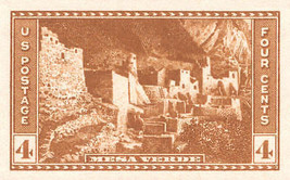 1935 4c Mesa Verde, Imperforate Stamp issued without gum Scott 759 Mint ... - $0.99