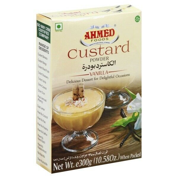 Primary image for Ahmed Custard Powder Vanilla Flavor 300g/10.58oz Halal 100% VEG