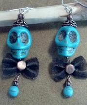 Skull Howlite Earrings with Copper Cap Bow Tie on Sterling Silver Ear Hooks - $29.99