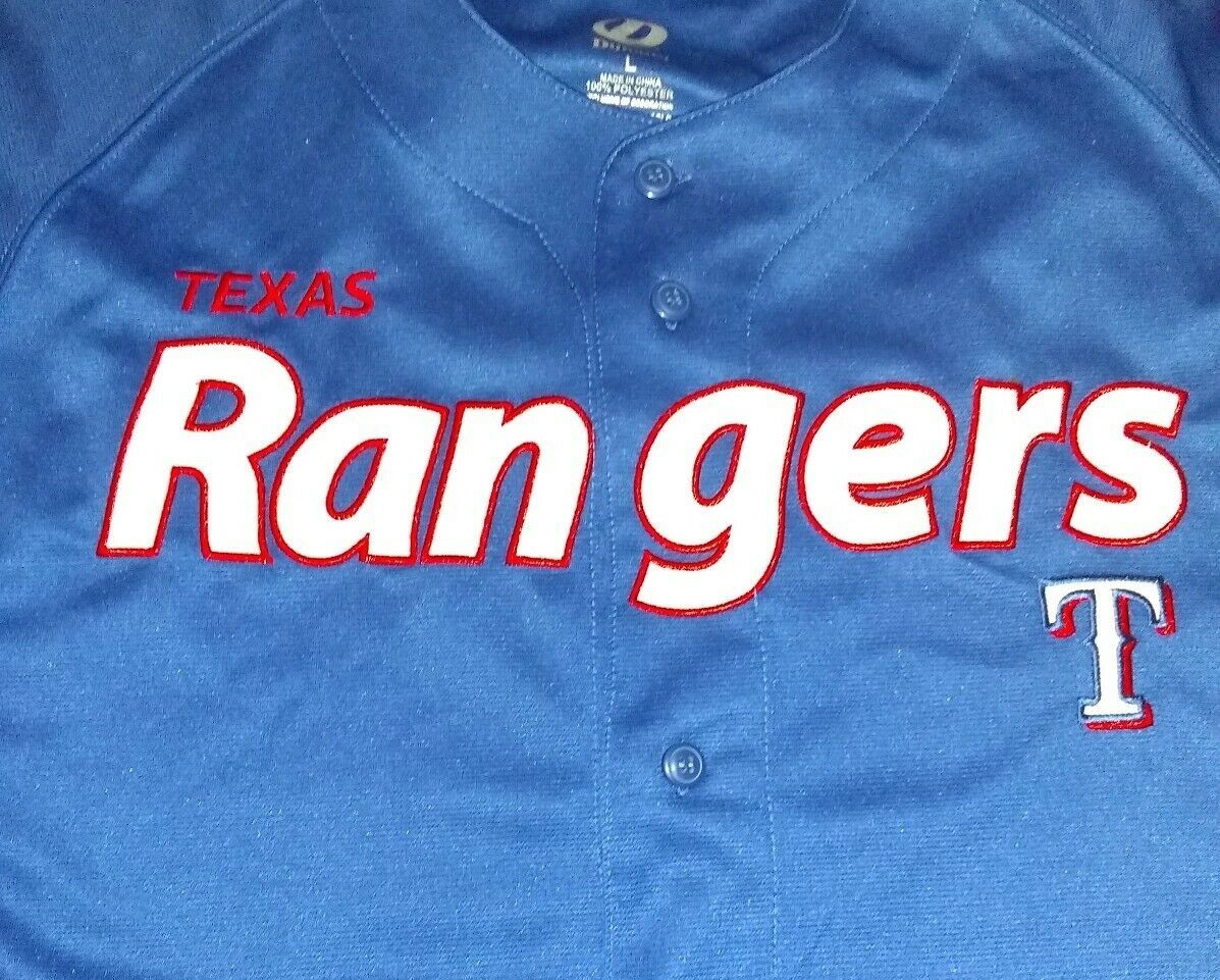 Texas Rangers Baseball Jersey Shirt Men's Large Blue Dynasty Series MLB Baseball