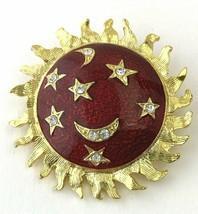 Vintage Red Enamel and Crystal Sunshine Sun Brooch, Pin, Goldtone - $19.00