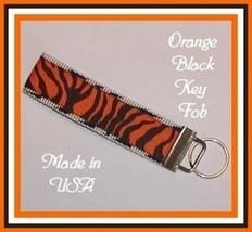 Orange And Black Team Spirit Key Fob, Orange Zebra Key Ring - $5.50