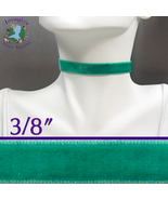 Jade VELVET Choker 3/8 inch 10 mm wide Custom Size Handmade USA teal gre... - $5.50