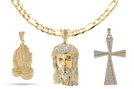 Brand New Micro Pave Gold Jesus Pendant Rope Chain Necklace Hip Hop Jewe... - $19.59