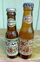2 qty VINTAGE Acme Beer MINI GLASS BEER BOTTLE - $12.99