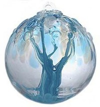 "6"" European Art Glass Spirit Tree Embossed Leaf ""ENLIVEN"" Blue witch Bal... - $42.20"