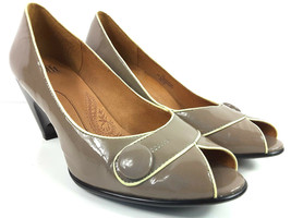 SOFFT Dark Taupe/Black Womens Slip-On Button Accent Heels Pumps Shoes Size 9m - $31.51