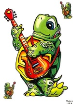 Guitar Turtle Outside Window Sticker Set   Car Decal  Hippies - $5.49