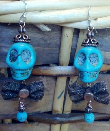 Primary image for Skull Howlite Earrings with Copper Cap Bow Tie on Sterling Silver Ear Hooks