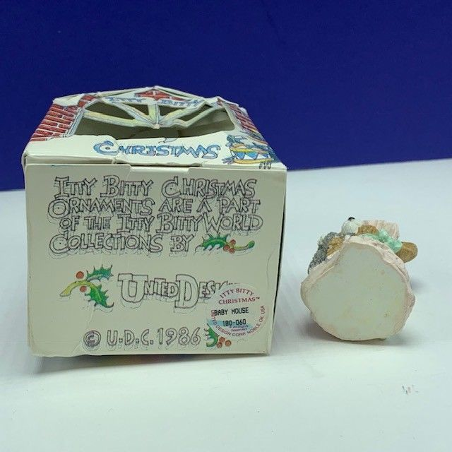 Itty Bitty Christmas ornament united design mouse mice critter 1986 baby cat vtg