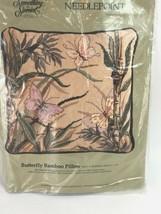 "Candamar Butterfly Bamboo Pillow Wool Yarn Kit 14""x14"" 30575 Vintage 198... - $44.54"