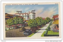 Ocean City NJ 1945 Beautiful Residential Street New Jersey Linen Postcard - $6.69