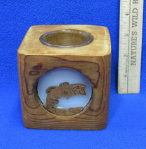 Carved Wood Fish Candle Holder w/ Glass Holder & Tea Light Candle Included  - $10.34