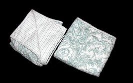 2 Ralph Lauren Mint Green Paisley Stripes Reversible Quilted KING Shams NIP DISC - $54.99