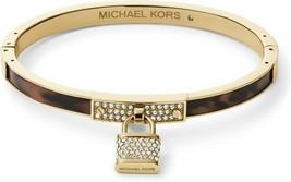 Michael Kors mkj3479710 Gold-Tone Tortoise Padlock Hinge Bangle Bracelet... - $79.19