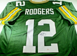 AARON RODGERS / AUTOGRAPHED GREEN BAY PACKERS GREEN CUSTOM FOOTBALL JERSEY / COA image 1