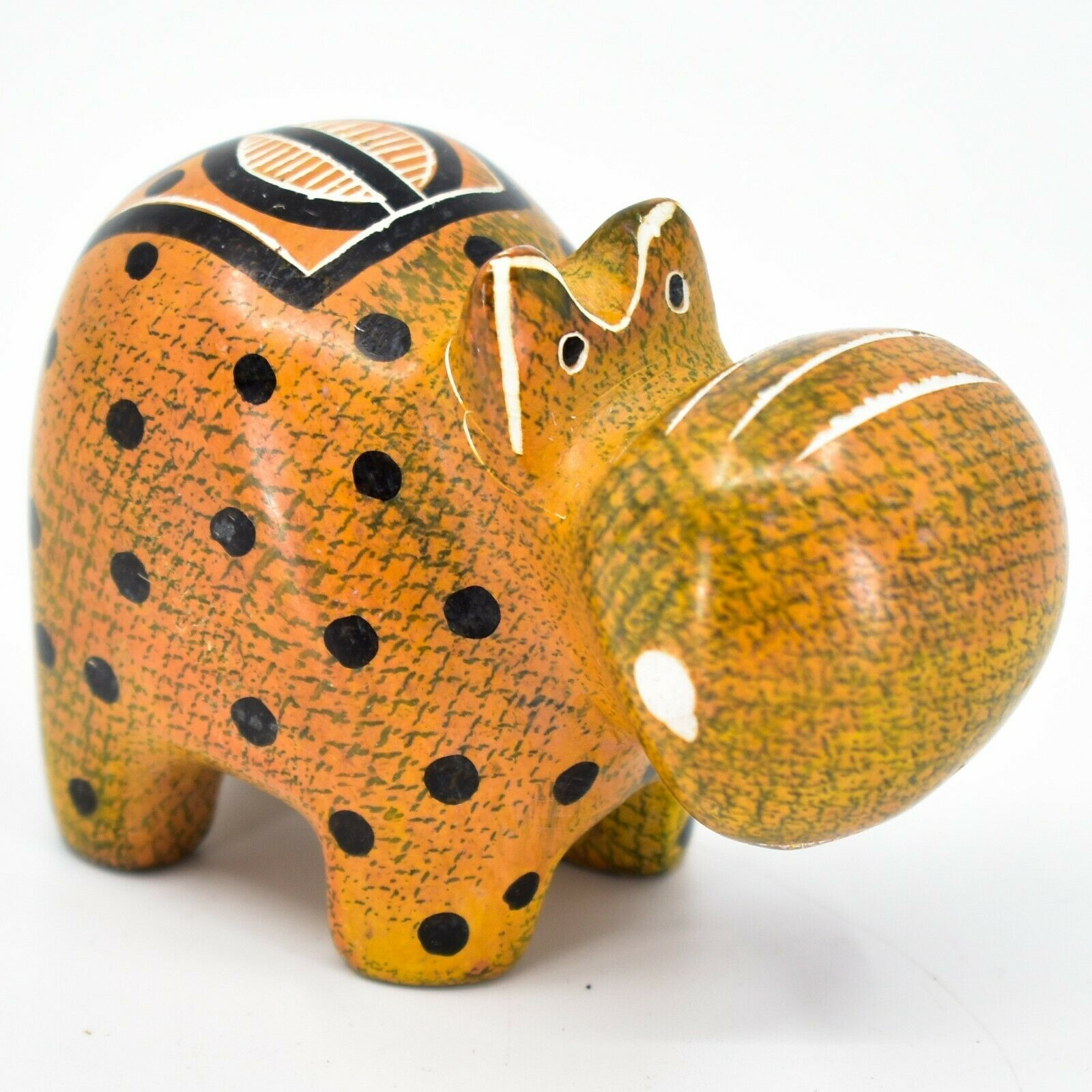 Crafts Caravan Soapstone Orange Black Hippopotamus Hippo Figurine Made Kenya